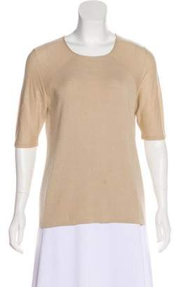 Akris Silk & Cashmere-Blend Three-Quarter Sleeve Top