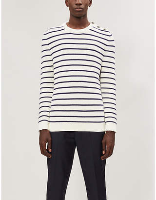 The Kooples Striped cotton-blend knitted jumper
