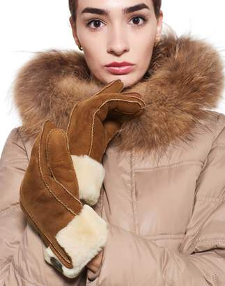 YISEVEN Women's Rugged Sheepskin Shearling Lined Warm Leather Gloves Turn-up Cuff