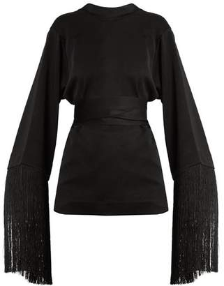 Ellery Lottery Round Neck Tassel Embellished Top - Womens - Black