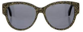 Saint Laurent Logo-Embellished Glitter Sunglasses