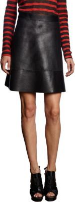 Proenza Schouler Leather Perforated Mini Skirt