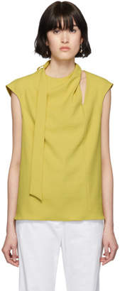 Tibi Yellow Chalky Drape Pleat Tie Blouse