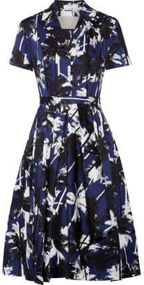 Jason Wu - Pleated Printed Cotton-poplin Dress - Navy $1,100 thestylecure.com