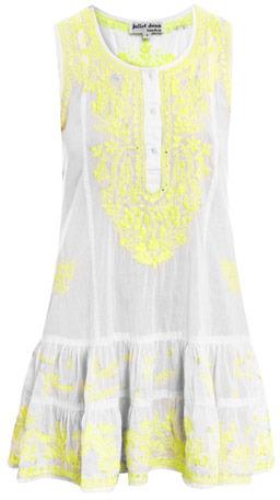 Juliet Dunn Neon embroidered beach dress
