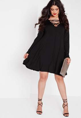 Missguided Plus Size Black Lace Up Swing Dress