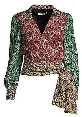 Alice + Olivia Women's Omega Paisley Wrapped Blouse