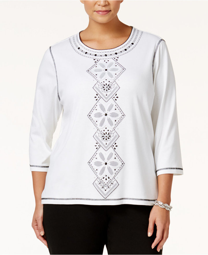 Alfred DunnerAlfred Dunner Plus Size City Life Collection Embellished Top