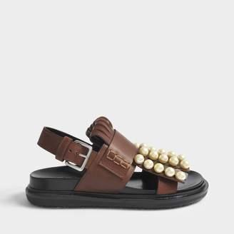 Marni Fussbett Sandals with Pearls in Peanuts Calf