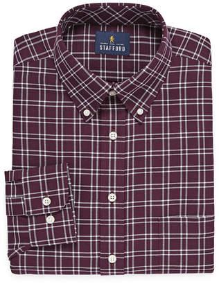 STAFFORD Stafford Travel Wrinkle-Free Stretch Oxford Long Sleeve Grid Dress Shirt
