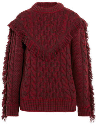 Alanui - Fringed Cable-knit Cashmere Sweater - Red