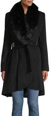 Calvin Klein Faux Fur Wool-Blend Coat