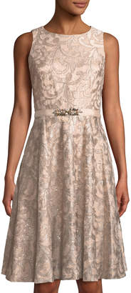 Eliza J Belted Sequin-Lace Fit-&-Flare Dress