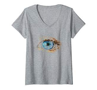 Womens Blue eye design that looks like a watercolor painting V-Neck T-Shirt