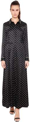 Ganni Polka Dot Silk Satin Shirt Dress