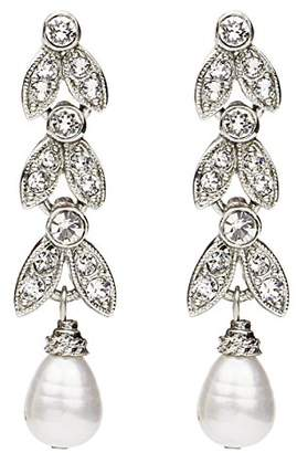 Crystal Pearl Ben-Amun Jewelry Marquise Drop Post Earrings for Bridal Wedding Anniversary