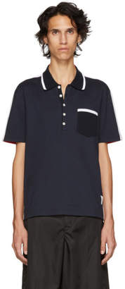 Thom Browne Navy and Red Bicolor Polo