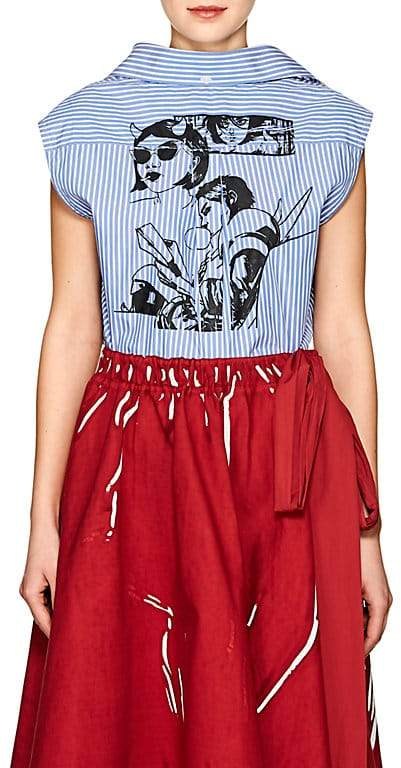 Prada Women's Striped Cotton Poplin Crop Top