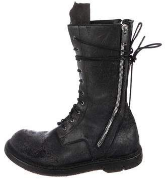 Rick Owens 2015 Blistered Suede Combat Boots