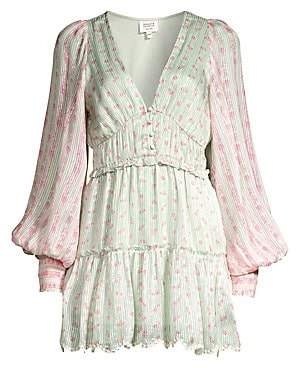 HEMANT AND NANDITA Women's Embroidered Floral Peasant Dress