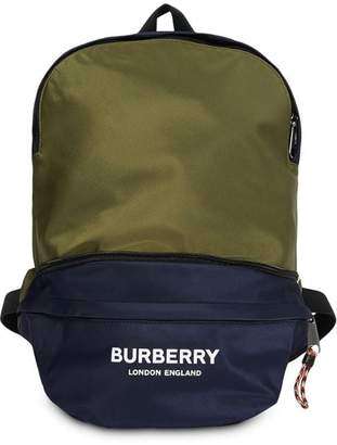 Burberry logo print two-tone convertible bum bag