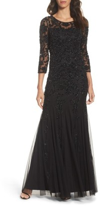 Women's Adrianna Papell Beaded Illusion Yoke Mesh Gown $349 thestylecure.com