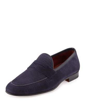 Magnanni for Neiman Marcus Faux-Lizard Suede Penny Loafer, Navy $395 thestylecure.com