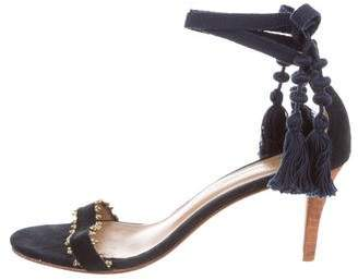 Ulla Johnson Suede Beaded Mid-Heel Sandals