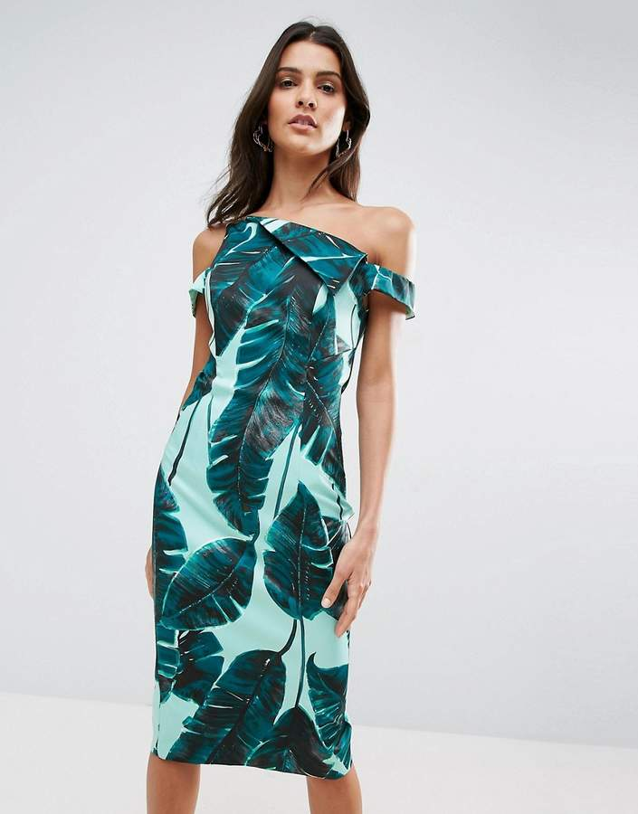 Asos ASOS Palm Leaf Hitchcock Midi Pencil Dress