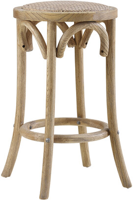 Linon Rae Rattan Seat Backless Counter Stool