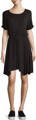 BCBGeneration Short-Sleeve Asymmetrical Drawstring Dress