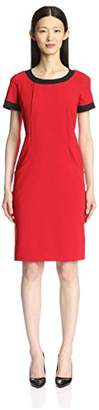 Society New York Women's Contrast Binding Sheath Dress