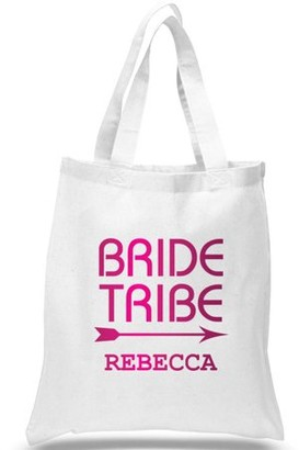 """Monogram Online Customized Bride Tribe Cotton Tote Bag, Sizes 11"""" x 14"""" and 14.5"""" x 18"""""""