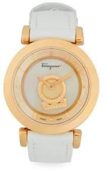 Salvatore Ferragamo Stainless Steel & Saffiano Leather-Strap Watch