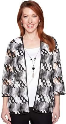 Alfred Dunner Women's Studio Necklace & Mock-Layer Open Weave Cardigan