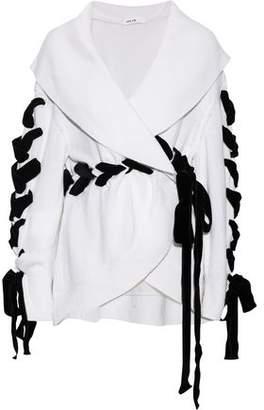 ADEAM Lace-up Velvet-trimmed Cashmere Wrap Cardigan