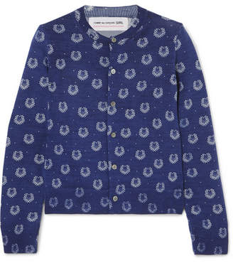 Comme des Garcons Printed Wool Cardigan - Navy