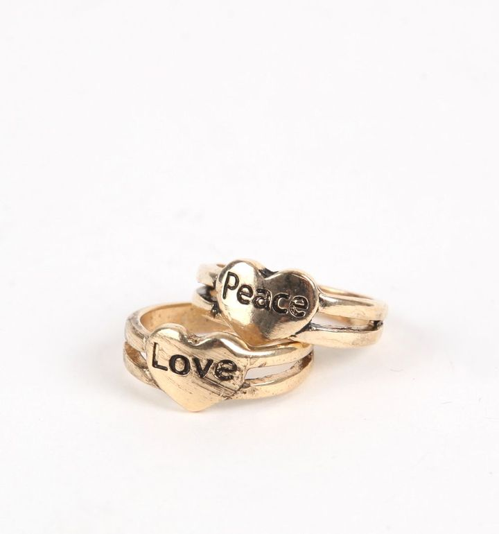 With Love From CA Love And Peace Ring Set