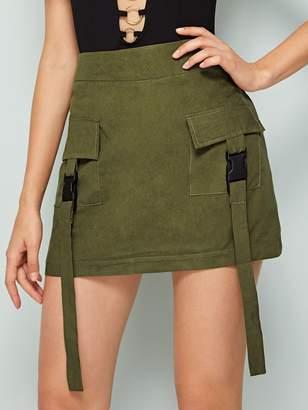 Shein Double Pocket Belted Decoration Zip Back Skirt