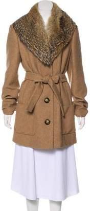 Michael Kors Fur-Trimmed Wool Coat