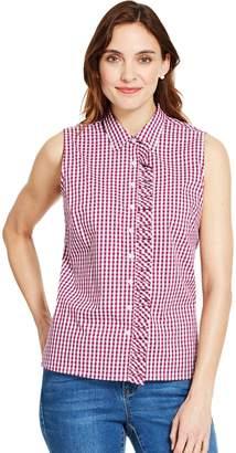 Izod Women's Checked Ruffle-Trim Shirt