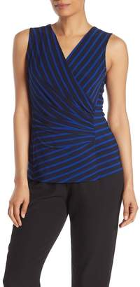 DKNY Striped Sleeveless Surplice Top