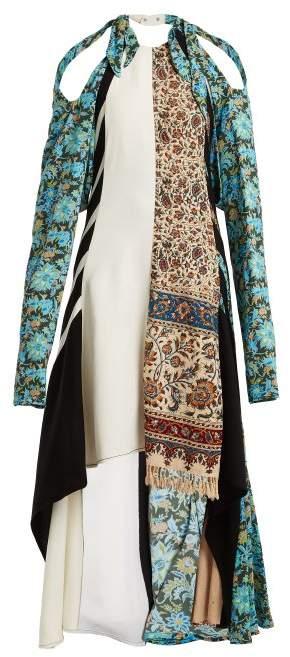 MARINE SERRE Asymmetric patchwork carpet dress