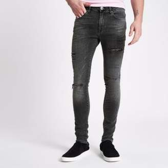 River Island Washed black Danny ripped super skinny jeans