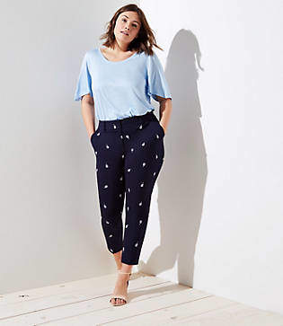 LOFT Plus Skinny Floral Embroidered Bi-Stretch Pants in Marisa Fit
