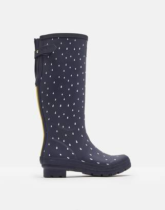 f0bd0b55a4a Joules Navy Raindrops Printed Wellies With Adjustable Back Gusset Size  Adult 3