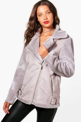 boohoo Tall Suedette Aviator Jacket