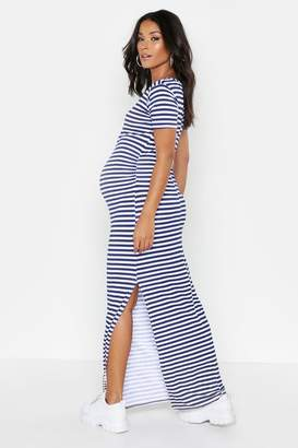 boohoo Maternity Stripe Cap Sleeve Maxi Dress
