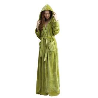 KOERIM Womens Long Hooded Bathrobe Thicken Luxury Fleece Full Length  Sleepwear b7b809a6d