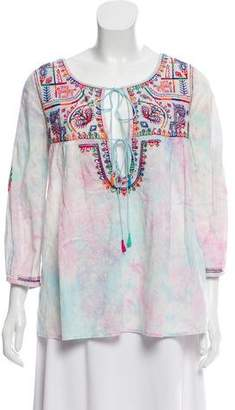 Calypso Embroidered Tie-Dye Blouse